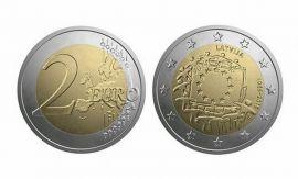 2 евро 30 лет флагу Латвия 2015 год