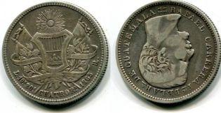 4 реала Гватемала 1865 год