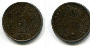 5 центов Маврикий 1890 год
