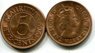 5 центов Маврикий 1969 год