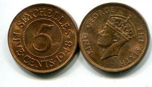 5 центов Сейшелы 1948 год