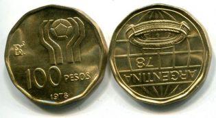 100 песо футбол Аргентина 1978 год
