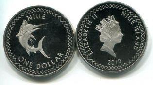 1 доллар рыба-меч Ниуэ 2010 год