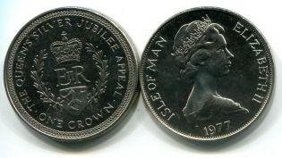 1 крона 25 лет коронации остров Мэн 1977 год