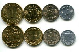 Набор монет Исландии 4 монеты