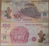100 песо 100 лет революции Мексика 2010 год