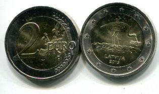 2 евро аист Латвия 2015 год