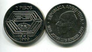 2 песо Хорхе Луис Борхес Аргентина 1999 год