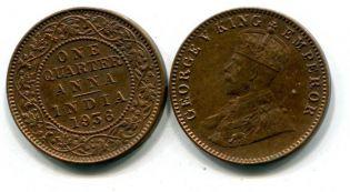 1/4 анна Георг V Индия 1936 год