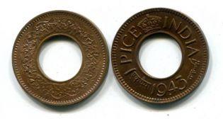 1 пайс Индия 1943 год