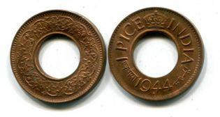 1 пайс Индия 1944 год