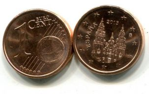 1 евроцент Испания 2014 год