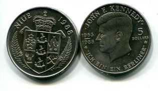 5 долларов Кеннеди Ниуэ 1988 год