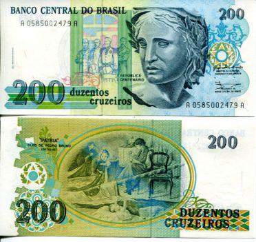 200 крузейро Бразилия 1990 год