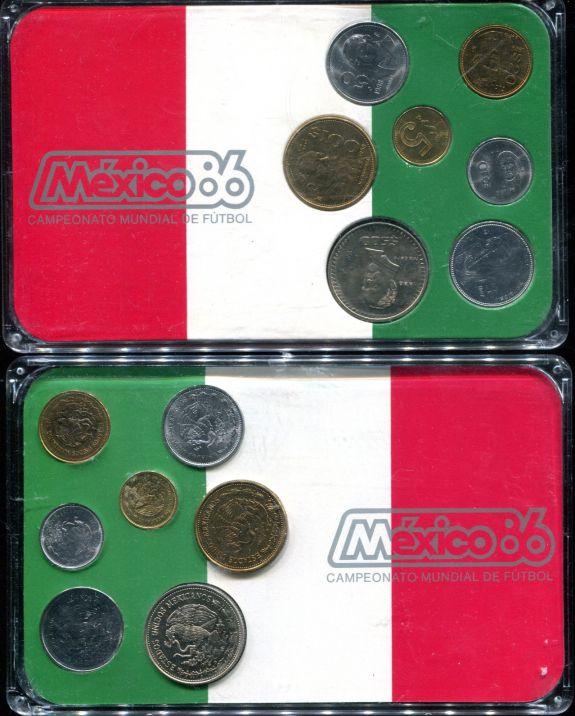 Набор монет Мексики в планшете 1986 год
