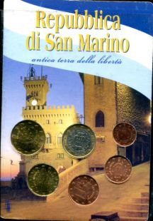 Набор евро Сан-Марино сборный от 1 евро до 1 цента