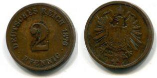 2 пфеннинга Германия 1876 год