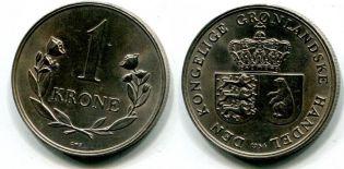 1 крона Гренландия 1964 год