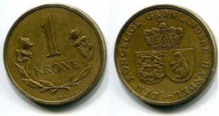 1 крона гербы Гренландия 1957 год