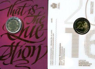 2 евро Уильям Шекспир Сан-Марино 2016 год