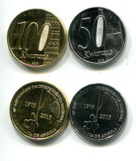 Набор монет Анголы 50 и 100 кванз 2015 год