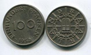 100 франков Саарленд, Германия 1955 год