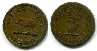Токен Цейлон 1859 год слон, олень