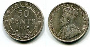 50 центов Георг V Ньюфаундленд 1918 год