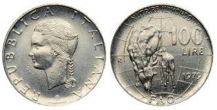 100 лир корова Италия 1979 год