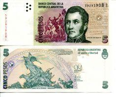 5 песо Аргентина памятник 2003 год