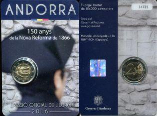 2 евро 150 лет новой реформе Андорра 2016 год