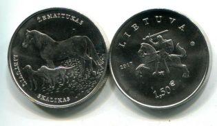 Литва 1,5 евро 2017 Литовская собака и лошадь