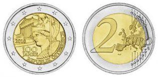2 евро 100 лет Австрийской Республике Австрия 2018 год
