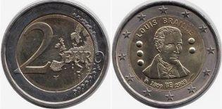 2 евро Луи Брайль Бельгия 2009 год