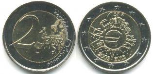 2 евро наличное обращение Бельгия 2012 год