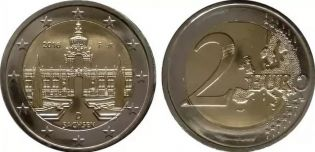 2 евро Дворец Цвингер, Дрезден Саксони, Германия 2016 год