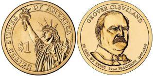 1 доллар Гровер Кливленд 22-й президент США 2012 год