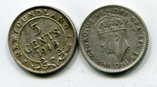 5 центов Ньюфаундленд 1945 год Георг VI